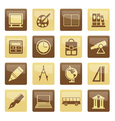 school and education icons over brown background vector image
