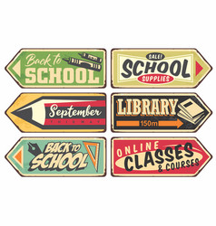 school retro sign set vector image