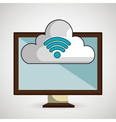 screen pc cloud wifi vector image