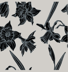seamless pattern with hand drawn stylized daffodil vector image