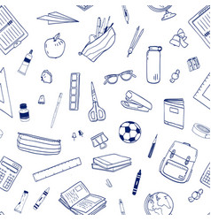 seamless pattern with school supplies or vector image