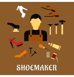 Shoemaker with tools and shoes in flat style vector
