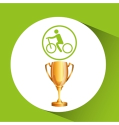 Silhouette man cycling rice athlete trophy vector