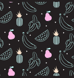 sketch line fruit salad seamless black pattern vector image