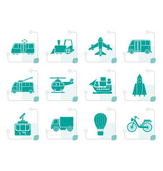 Stylized travel and transportation icons vector