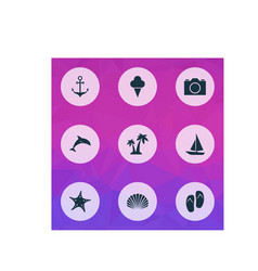 Sun icons set collection star conch trees vector