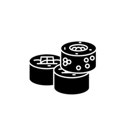 sushi rolls black icon sign on isolated vector image