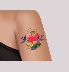 tattoo on shoulderheartgold crown swallows vector image