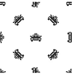 taxi car pattern seamless black vector image