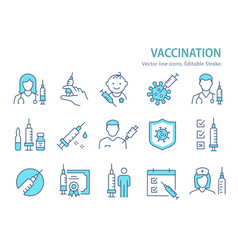 vaccine icon set collection syringe vector image