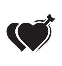 Valentines two heart arrow black icon vector