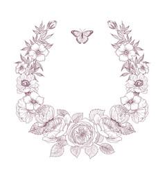 Vintage victorian frame border monogram floral vector