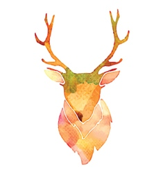 Watercolor deer head vector