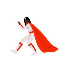 Young african american woman in superhero costume vector