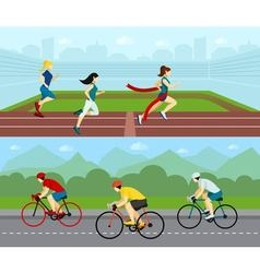 People Sport Horizontal Banner Set vector image vector image
