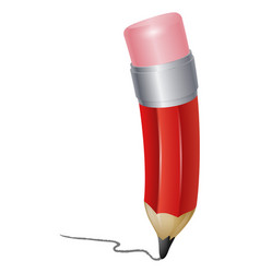 red cartoon pencil writing vector image vector image