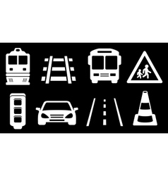 set white transport isolated icons on black vector image vector image