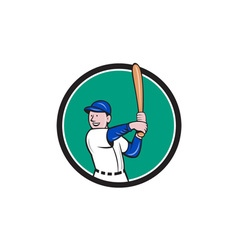 Baseball Player Batting Stance Circle Cartoon vector image vector image