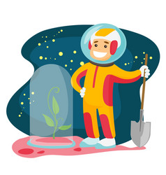 caucasian astronaut planting tree on a new planet vector image vector image