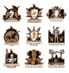 Knights Colored Emblems vector image