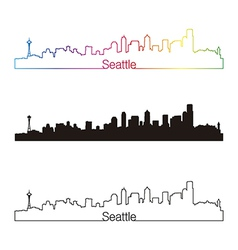 Seattle skyline linear style with rainbow vector image