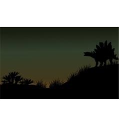 Silhouette of stegosaurus in fields scenery vector