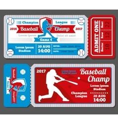 Vintage baseball sports tickets set vector image vector image