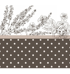 Vintage dotted card with flowers vector