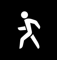 Man walking silhouette White isolated on a black vector image vector image