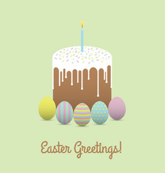 painted eggs with easter cake easter greetings vector image