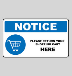 Return your shopping cart here notice banner vector