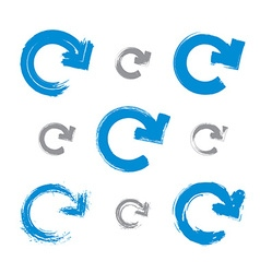 Set of hand-painted blue update signs isolated on vector image vector image