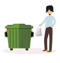the guy throws the waste package into the garbage vector image