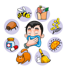 cartoon colorful allergy set vector image