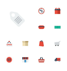 flat icons cash pouch payment and other vector image vector image