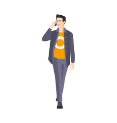 Guy In Jacket And Orange T-Shirt Speaking On The vector image vector image