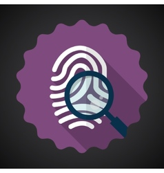 Police Fingerprint with Zoomer Flat icon vector image vector image