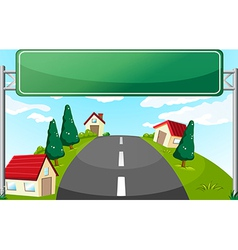 A long road and a green signboard vector
