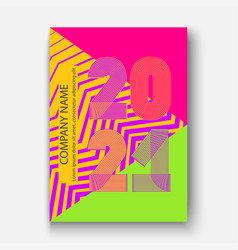 abstract modern cover design colorful neon zigzag vector image