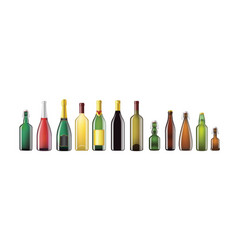 Alcohol bottles - realistic set of objects vector