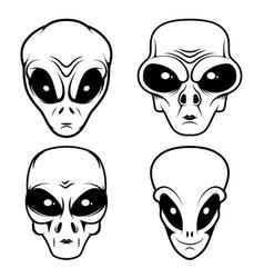 alien head in monochrome style design element vector image
