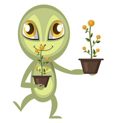 alien with flowers on white background vector image