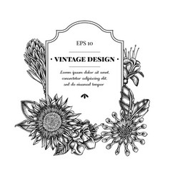 Badge design with black and white african daisies vector