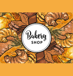 bakery shop banner or cover with sign on white vector image