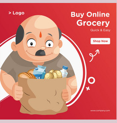 banner design of shopkeeper vector image