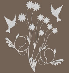 birds on flower vector image