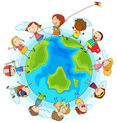 boys and girls playing around world vector image