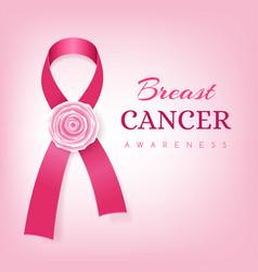 breast cancer awareness card pink ribbon vector image