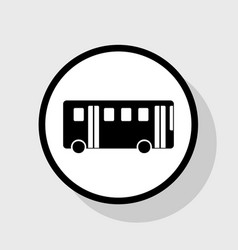 bus simple sign flat black icon in white vector image