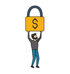 businessman holding padlock money vector image